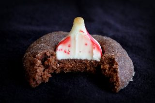 Chocolate Candy Cane Kiss Cookies Bite
